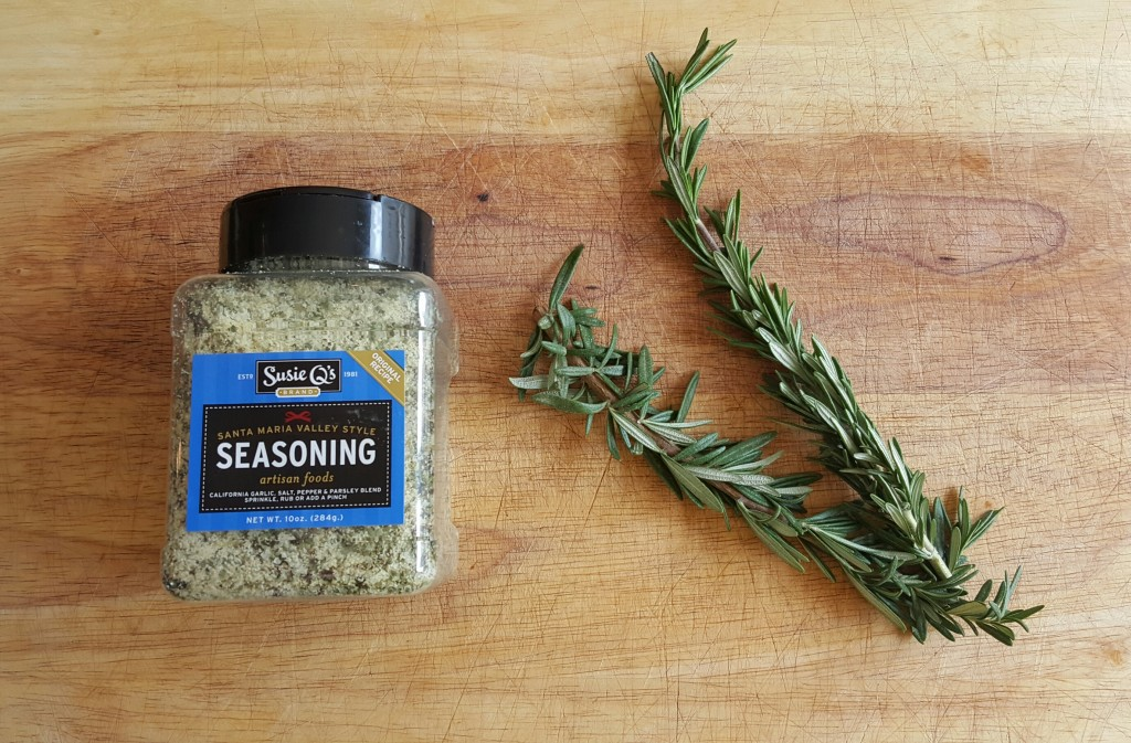 Santa Maria seasoning and rosemary. (Not pictured: olive oil)