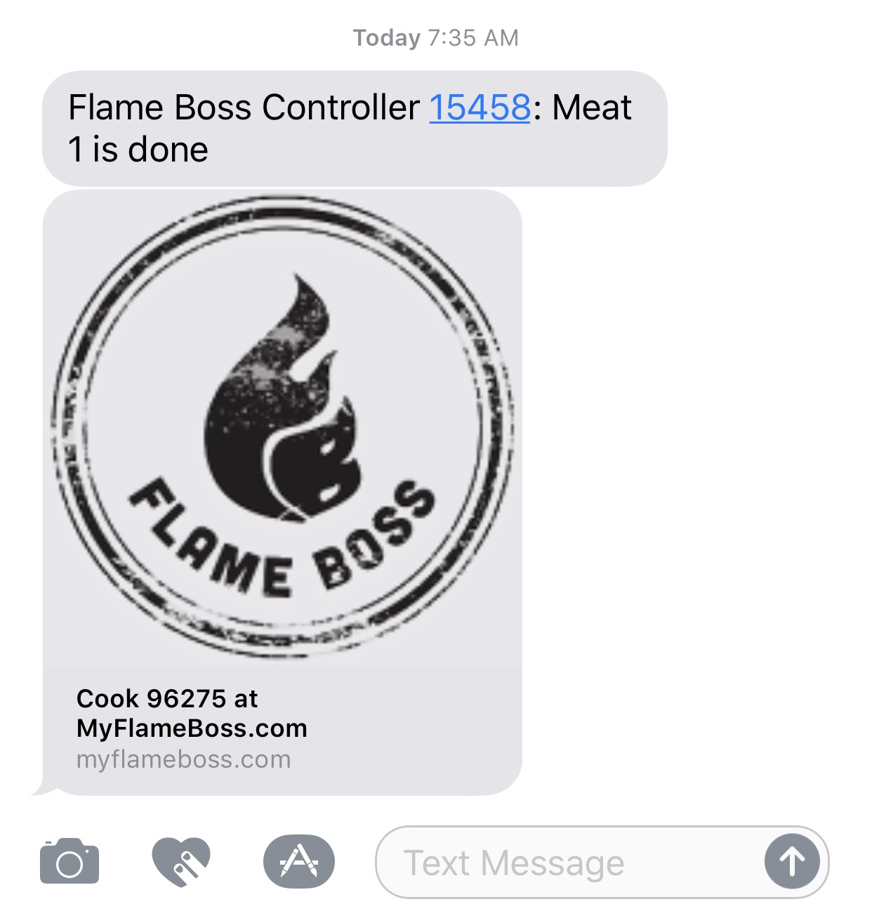 My text alert informing me the meat is done!