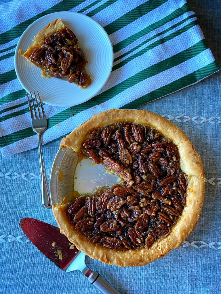 Smoked candied pecan pie vanishes fast!
