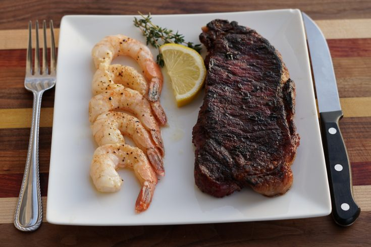 Reverse Seared New York Strip Steak and Smoked Buttery Shrimp