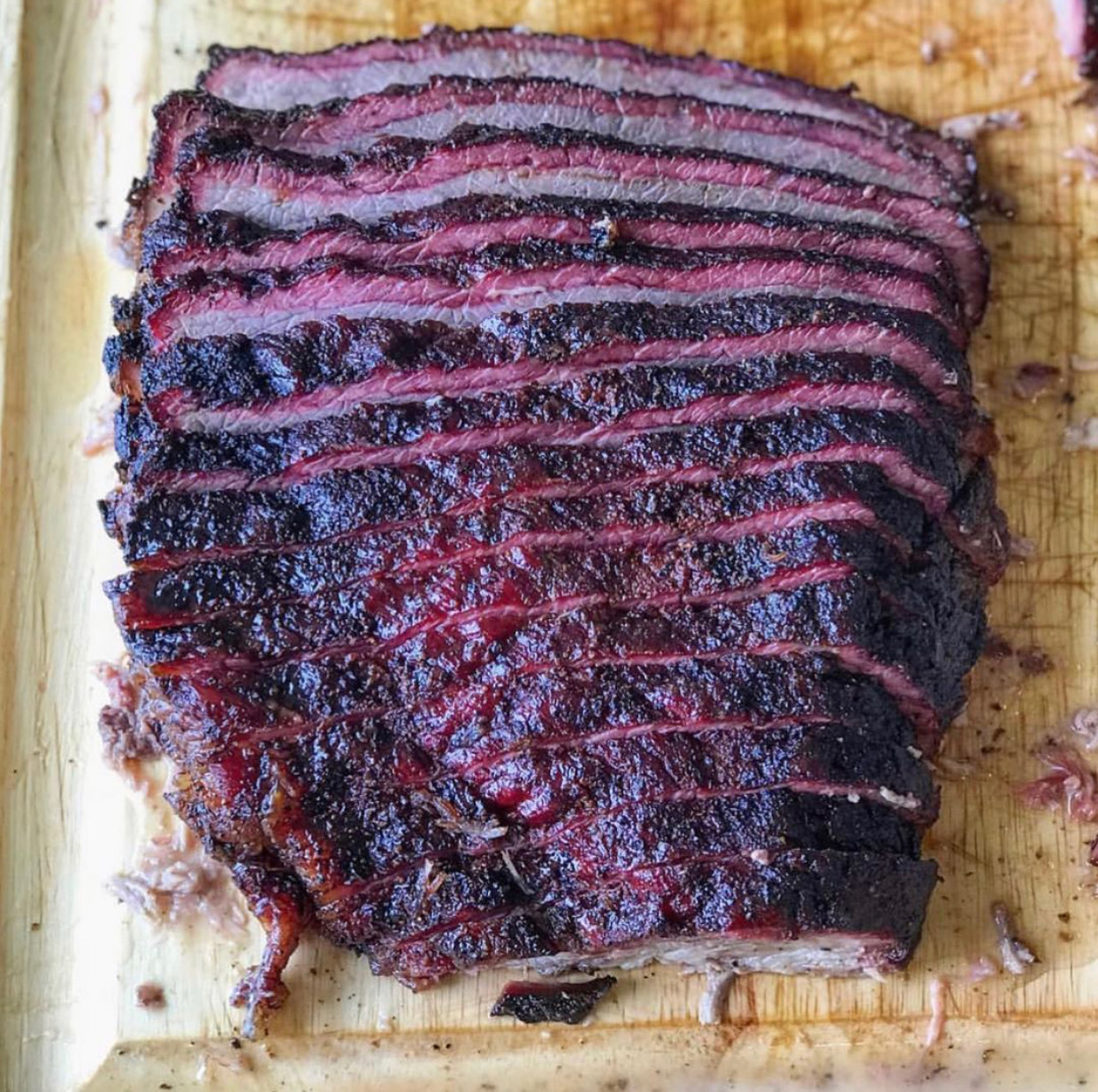 Smoked BBQ brisket slices are like manna from heaven!
