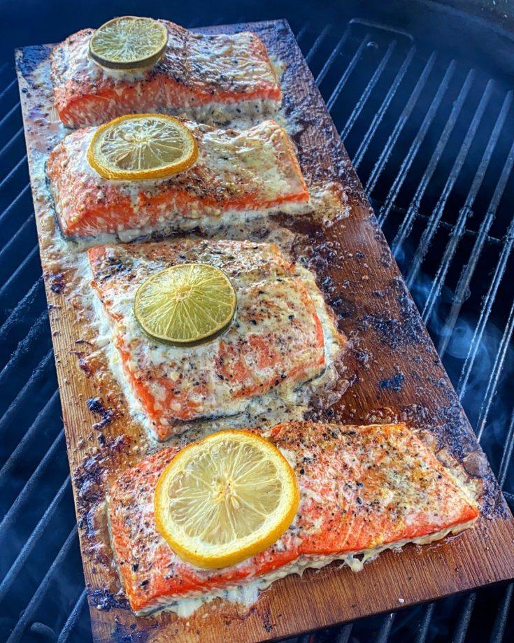 Garlic Lemon Lime Cedar Plank Salmon