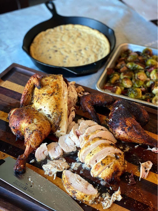 Zesty Grilled Spatchcock Chicken, roasted bacon & Brussels sprouts, skillet chocolate chip cookie