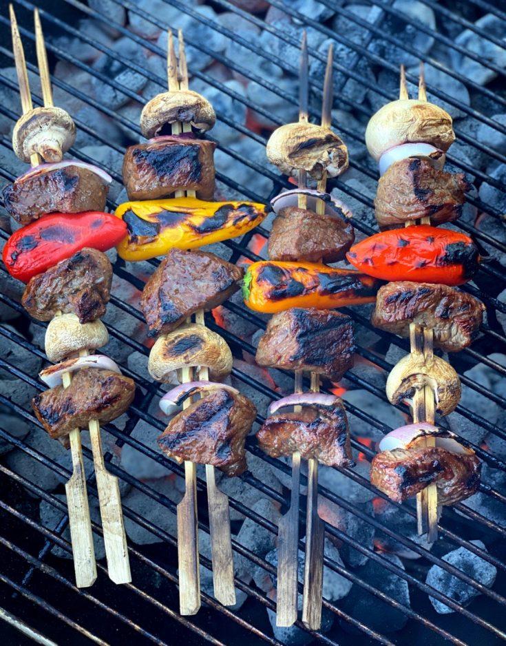 Grilled Steak Kabob Skewers ready to eat